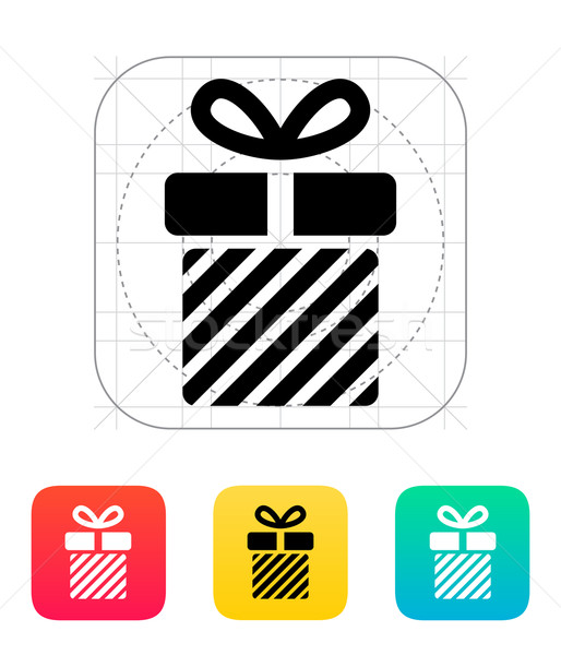 Striped gift box icons on white background. Stock photo © tkacchuk