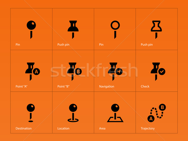 Stock photo: Mapping Pin icons on orange background.