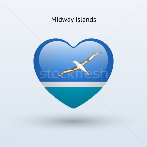Love Midway Islands symbol. Heart flag icon. Stock photo © tkacchuk