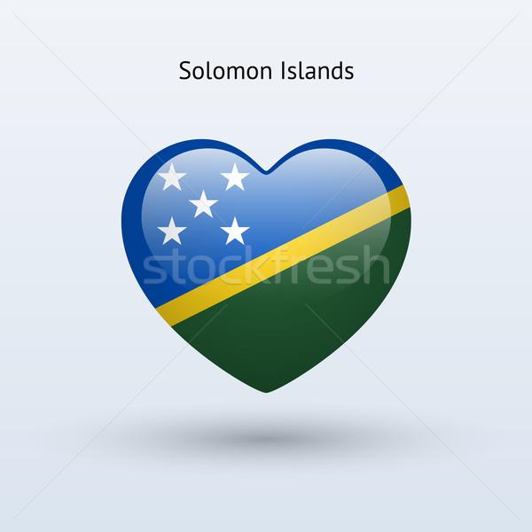 Love Solomon Islands symbol. Heart flag icon. Stock photo © tkacchuk
