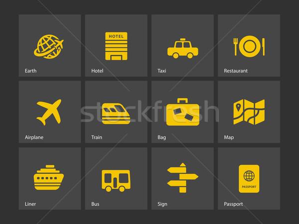 путешествия иконки мира земле поезд сумку Сток-фото © tkacchuk