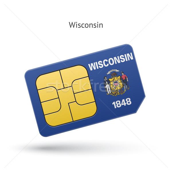 Wisconsin telefon kártya zászló üzlet technológia Stock fotó © tkacchuk