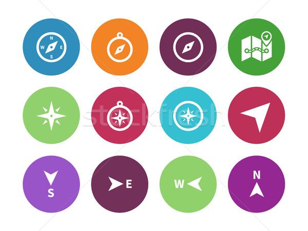 Compass circle icons on white background. Stock photo © tkacchuk