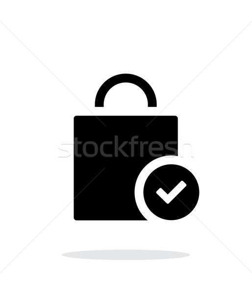 Shopping bag check simple icon on white background. Stock photo © tkacchuk