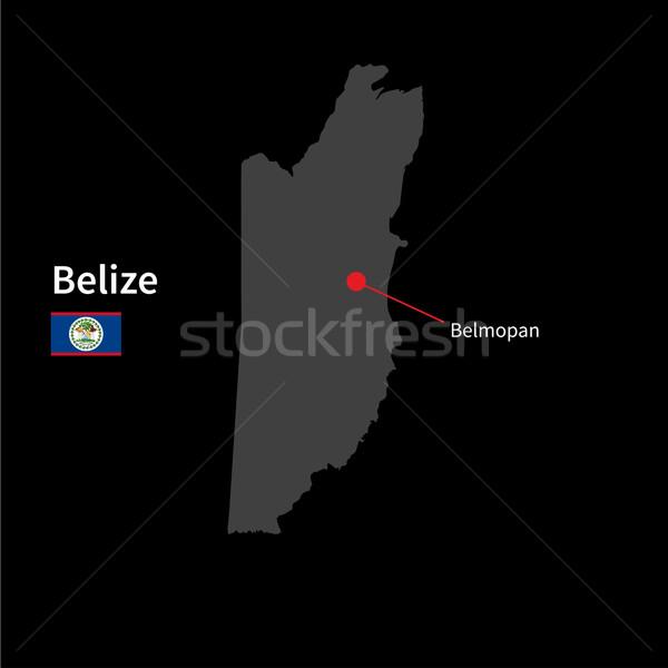 Részletes térkép Belize város zászló fekete Stock fotó © tkacchuk