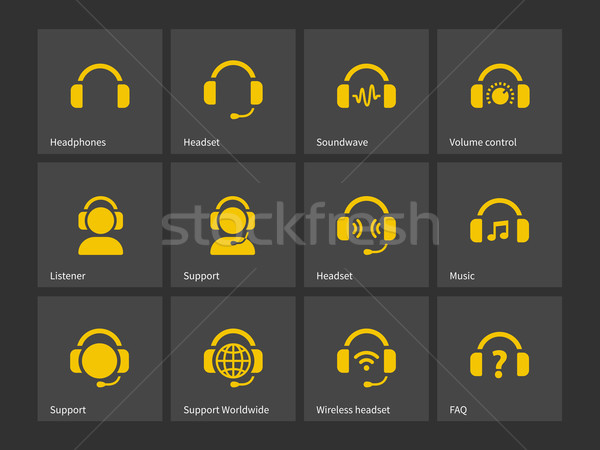 Headphones and support icons. Stock photo © tkacchuk