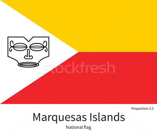 National flag of Marquesas Islands with correct proportions, element, colors Stock photo © tkacchuk