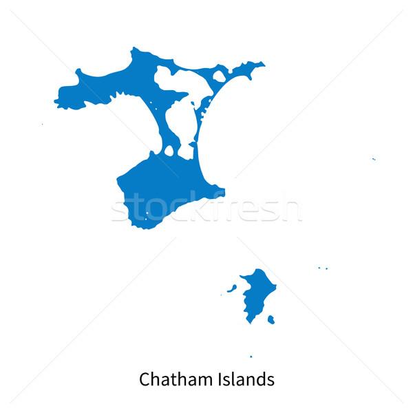 Gedetailleerd vector kaart eilanden onderwijs Blauw Stockfoto © tkacchuk