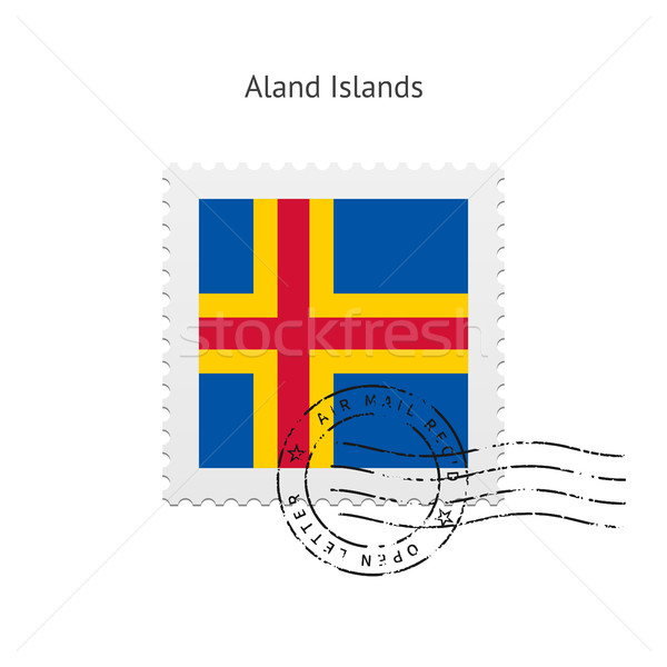 Aland Islands Flag Postage Stamp. Stock photo © tkacchuk