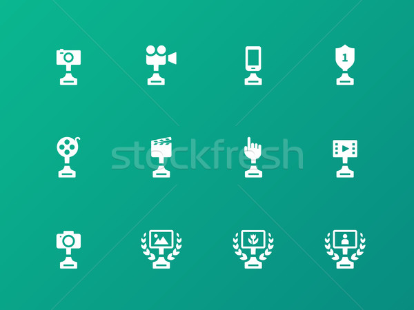 Award icons on green background. Stock photo © tkacchuk