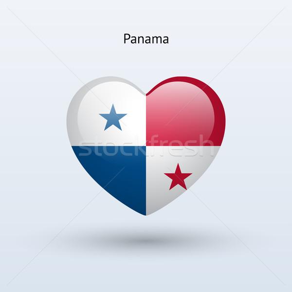 Szeretet Panama szimbólum szív zászló ikon Stock fotó © tkacchuk