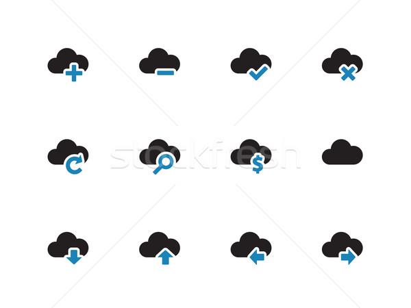 Chmura ikona biały Internetu laptop technologii Zdjęcia stock © tkacchuk