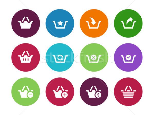 Stockfoto: Cirkel · iconen · witte · teken · web