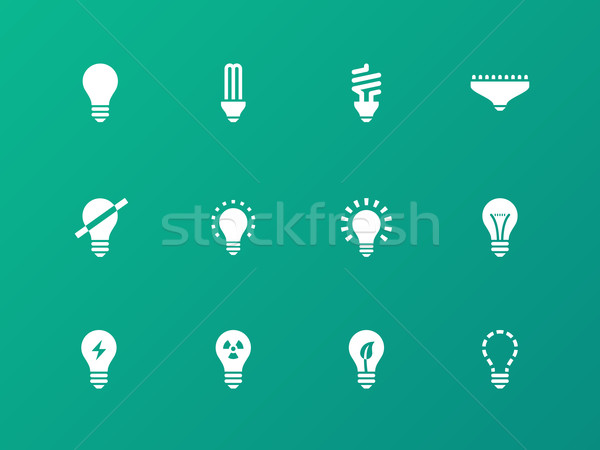 Light bulb and CFL lamp icons on green background. Stock photo © tkacchuk