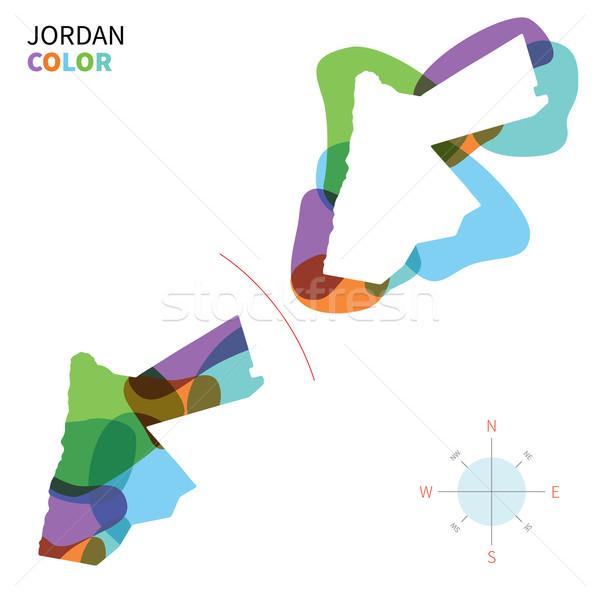 Absztrakt vektor szín térkép Jordánia átlátszó Stock fotó © tkacchuk