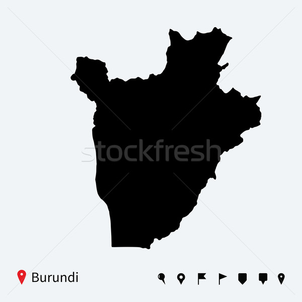 Alto detalhado vetor mapa Burundi navegação Foto stock © tkacchuk