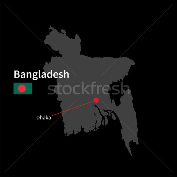 Detalhado mapa Bangladesh cidade Dhaka bandeira Foto stock © tkacchuk