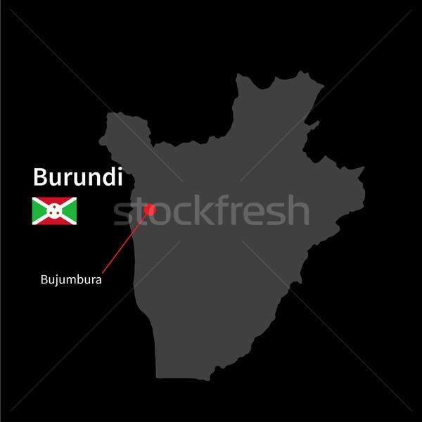 Foto stock: Detalhado · mapa · Burundi · cidade · bandeira · preto