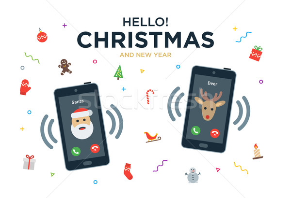Karácsony üdvözlőlap telefonbeszélgetés mikulás rénszarvas vektor Stock fotó © tkacchuk