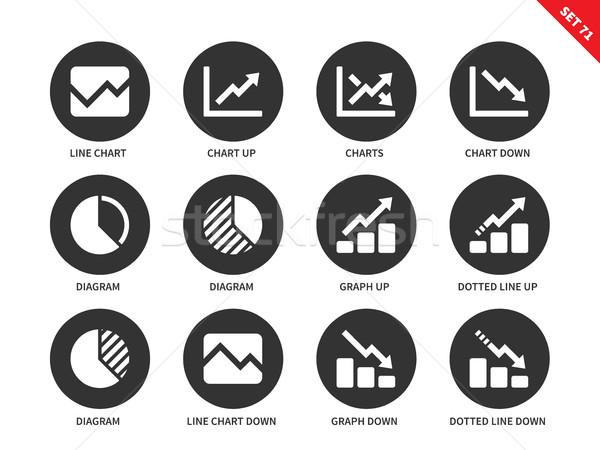Line chart icons on white background Stock photo © tkacchuk