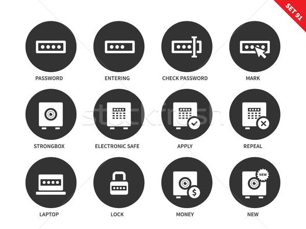 Wachtwoord iconen witte slot vector internet Stockfoto © tkacchuk