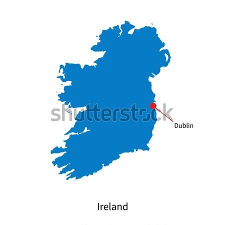 Detailed vector map of Ireland and capital city Dublin Stock photo © tkacchuk