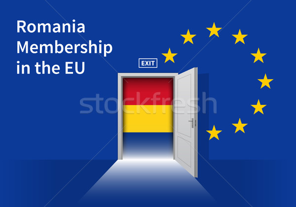 European Union flag wall with Romania flag door. EU Flag. Stock photo © tkacchuk