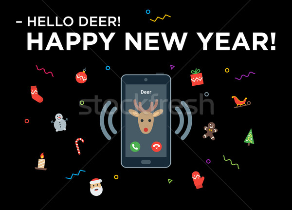Christmas Reindeer phone call with lettering Happy New Year Stock photo © tkacchuk