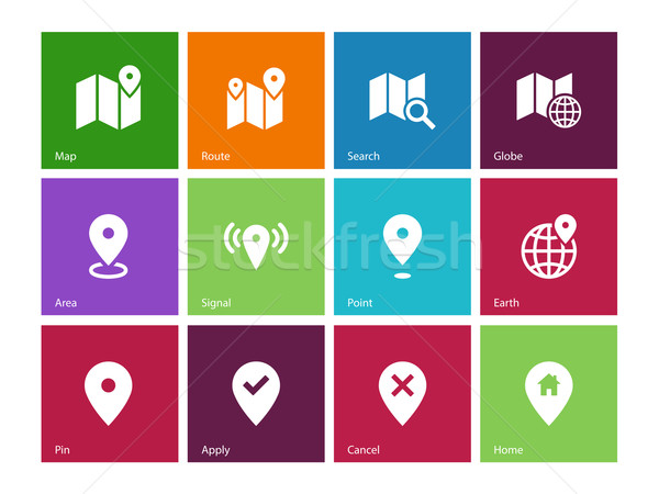 Map icons on color background. GPS and Navigation. Stock photo © tkacchuk
