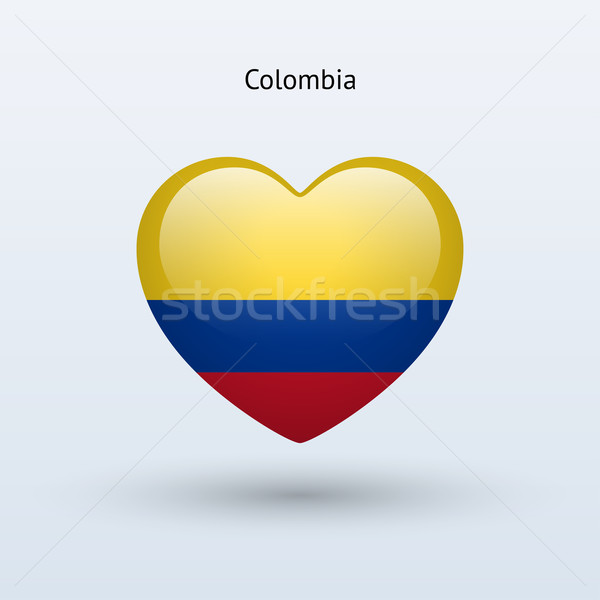 Amour Colombie symbole coeur pavillon icône Photo stock © tkacchuk