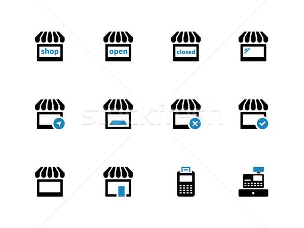 Shop duotone icons on white background. Stock photo © tkacchuk