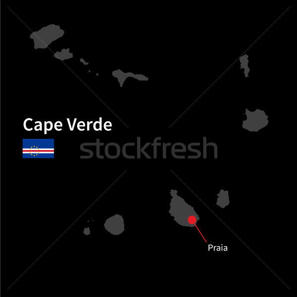 Detailed map of Cape Verde and capital city Praia with flag on black background Stock photo © tkacchuk