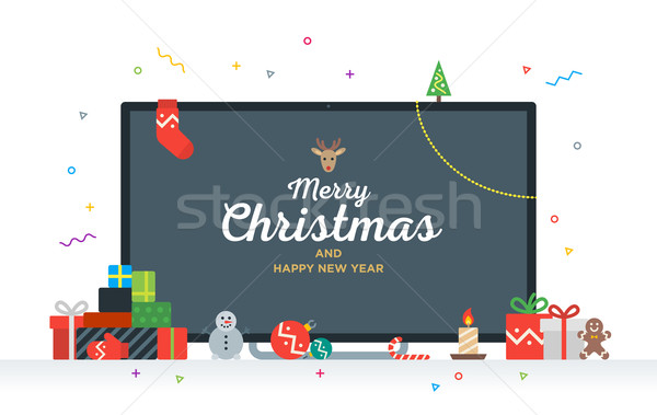 Large TV with Congratulatory text Merry Christmas and Happy New Year, gifts, presents, bauble, candy Stock photo © tkacchuk