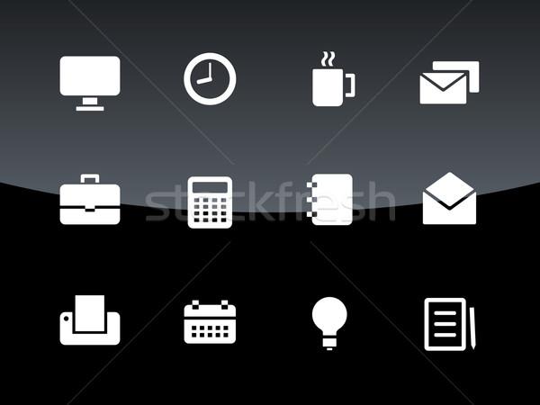 Business icons on black background. Stock photo © tkacchuk