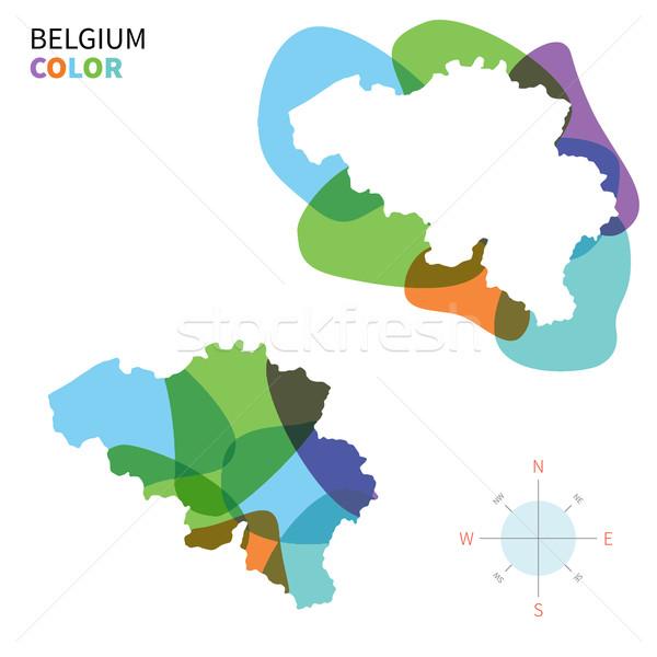 Soyut vektör renk harita Belçika şeffaf Stok fotoğraf © tkacchuk