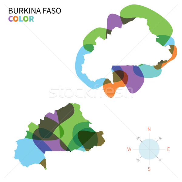 Abstract vector color map of Burkina Faso with transparent paint effect. Stock photo © tkacchuk