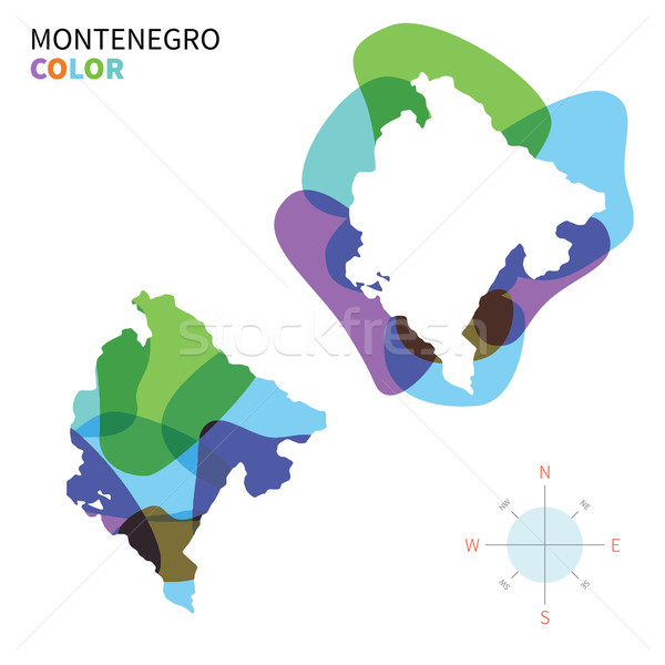 Abstract vector color map of Montenegro with transparent paint effect. Stock photo © tkacchuk