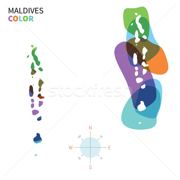 Abstract vector color map of Maldives with transparent paint effect. Stock photo © tkacchuk