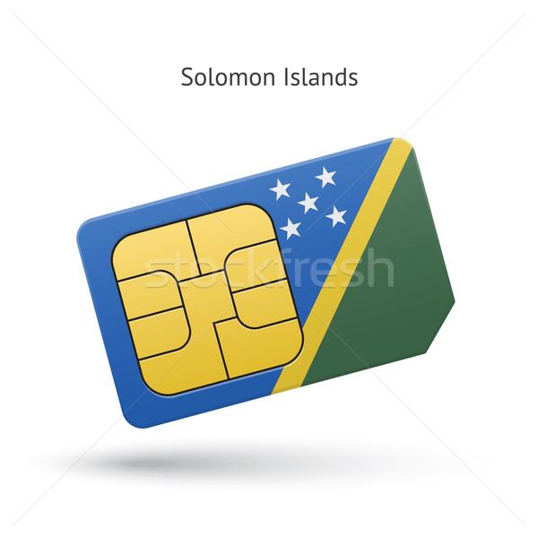 Solomon Islands mobile phone sim card with flag. Stock photo © tkacchuk