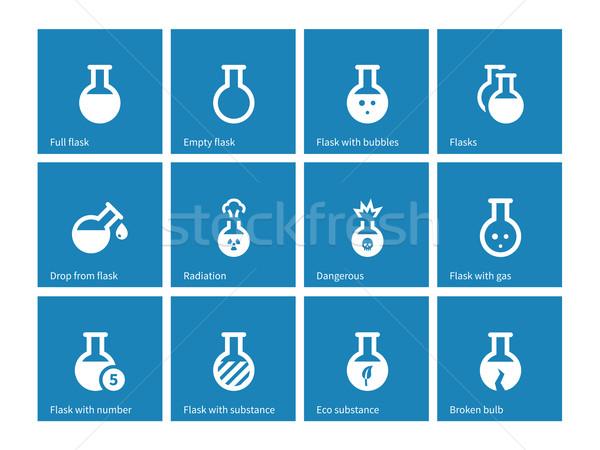 Laboratory glass icons on blue background. Stock photo © tkacchuk