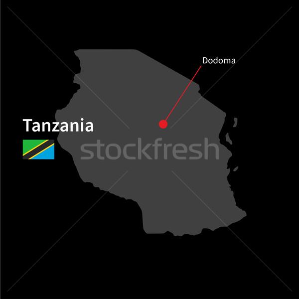Ayrıntılı harita Tanzanya şehir bayrak siyah Stok fotoğraf © tkacchuk