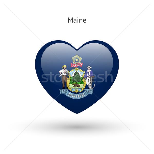 Love Maine state symbol. Heart flag icon. Stock photo © tkacchuk