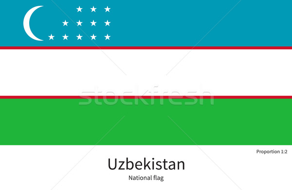 National flag of Uzbekistan with correct proportions, element, colors for Stock photo © tkacchuk