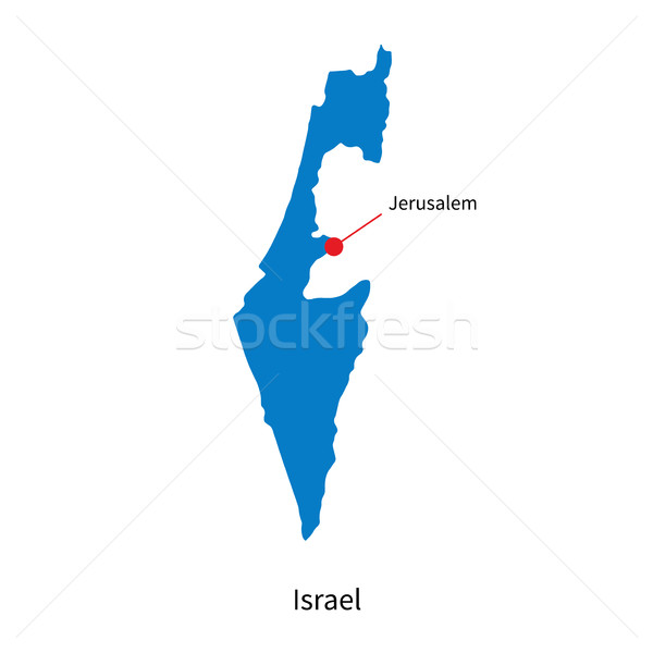 Detailed vector map of Israel and capital city Jerusalem Stock photo © tkacchuk