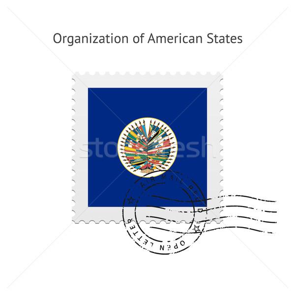 Szervezet amerikai zászló postabélyeg fehér felirat Stock fotó © tkacchuk
