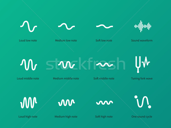 Recording wave and sound icons on green background. Stock photo © tkacchuk