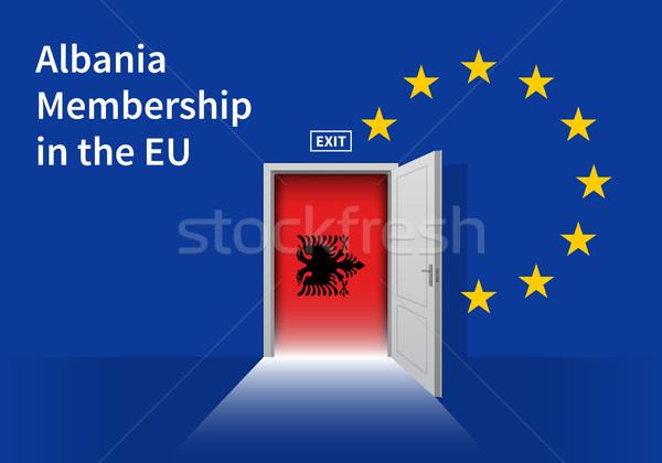European Union flag wall with Albania flag door. EU Flag. Stock photo © tkacchuk