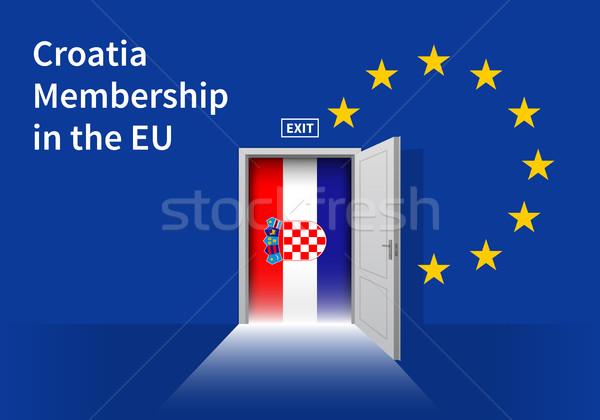 ヨーロッパの 組合 フラグ 壁 ドア eu ストックフォト © tkacchuk