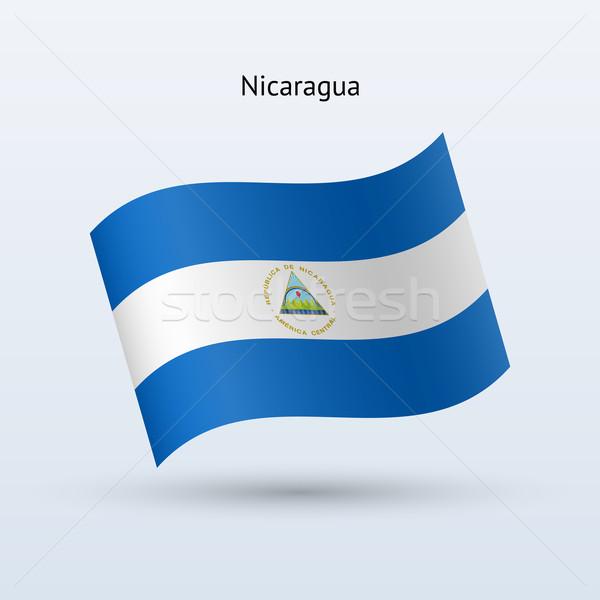 Nicaragua zászló integet űrlap szürke felirat Stock fotó © tkacchuk