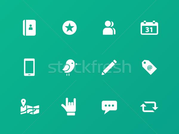 Social icons on green background. Stock photo © tkacchuk